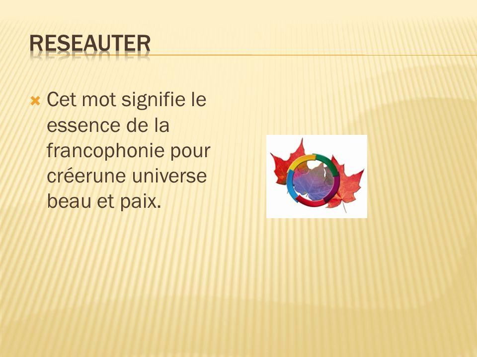 Cet mot signifie le essence de la francophonie pour créerune universe beau et paix.