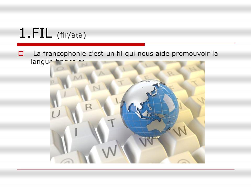 1.FIL (fir/aa) La francophonie cest un fil qui nous aide promouvoir la langue française.