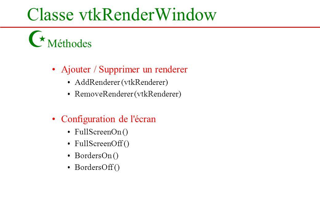 Classe vtkRenderWindow Z Méthodes Ajouter / Supprimer un renderer AddRenderer (vtkRenderer) RemoveRenderer (vtkRenderer) Configuration de l'écran Full