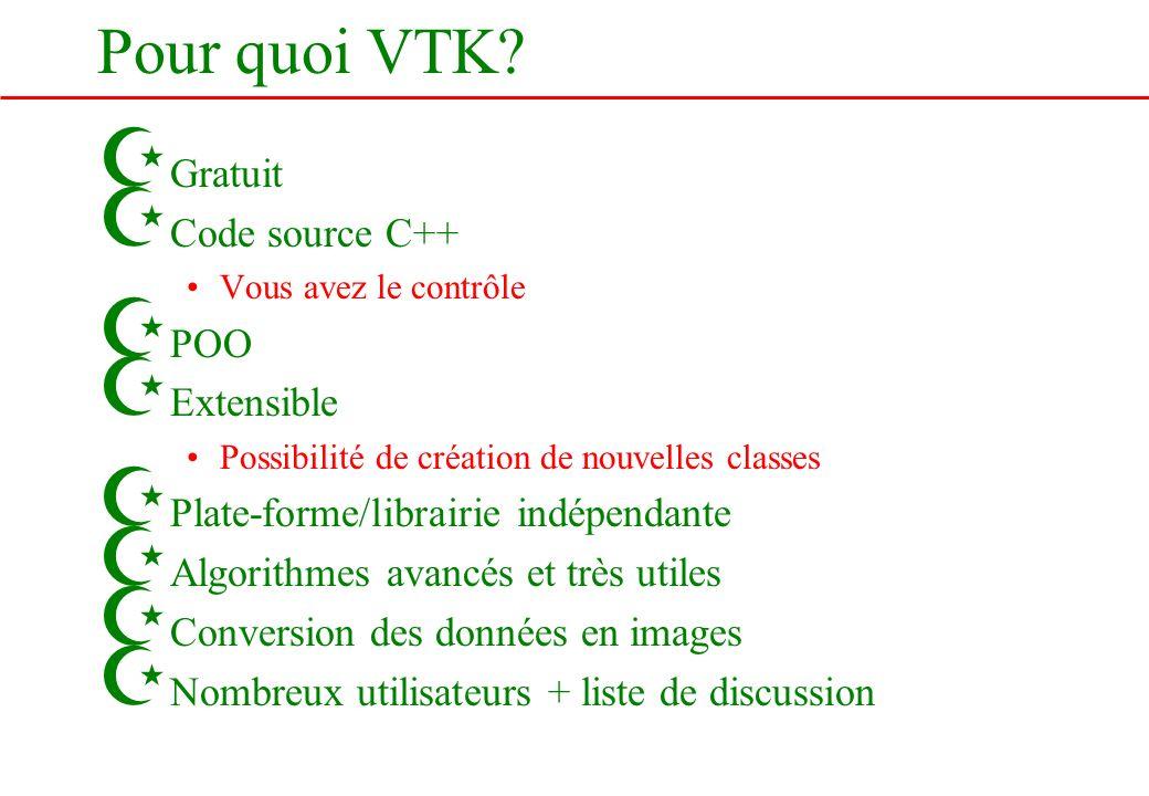 Pour quoi VTK? Z Gratuit Z Code source C++ Vous avez le contrôle Z POO Z Extensible Possibilité de création de nouvelles classes Z Plate-forme/librair