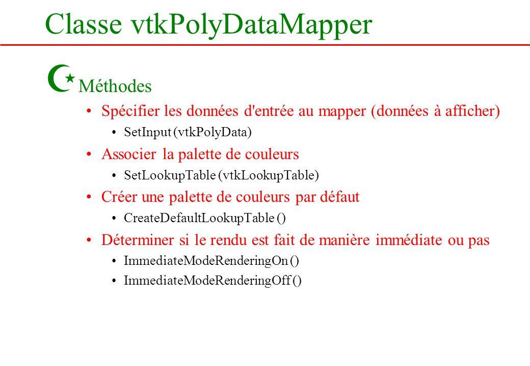 Classe vtkPolyDataMapper Z Méthodes Spécifier les données d'entrée au mapper (données à afficher) SetInput (vtkPolyData) Associer la palette de couleu