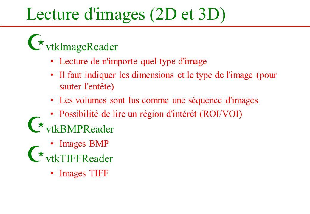 Lecture d'images (2D et 3D) Z vtkImageReader Lecture de n'importe quel type d'image Il faut indiquer les dimensions et le type de l'image (pour sauter