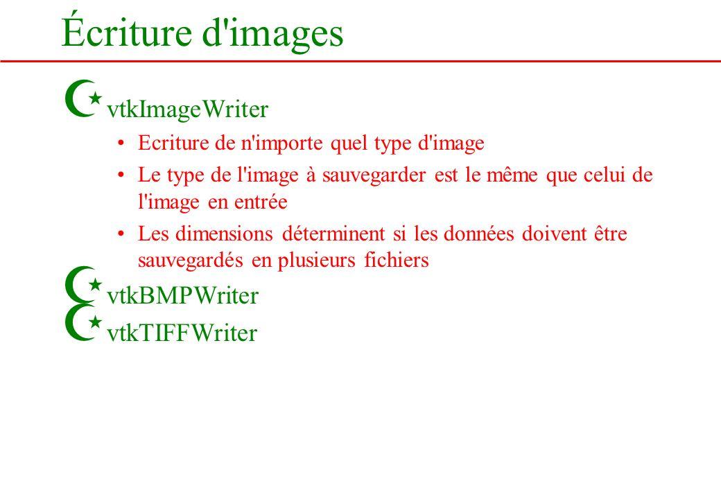 Écriture d'images Z vtkImageWriter Ecriture de n'importe quel type d'image Le type de l'image à sauvegarder est le même que celui de l'image en entrée