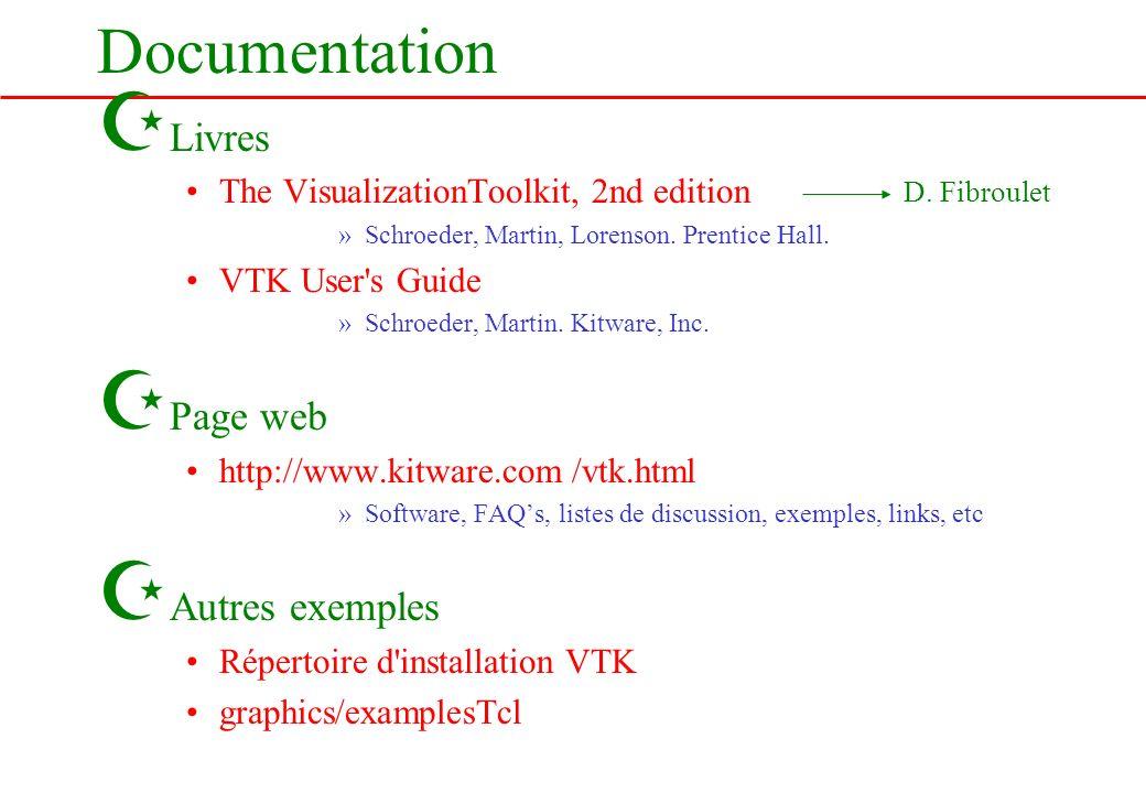 Documentation Z Livres The VisualizationToolkit, 2nd edition »Schroeder, Martin, Lorenson. Prentice Hall. VTK User's Guide »Schroeder, Martin. Kitware