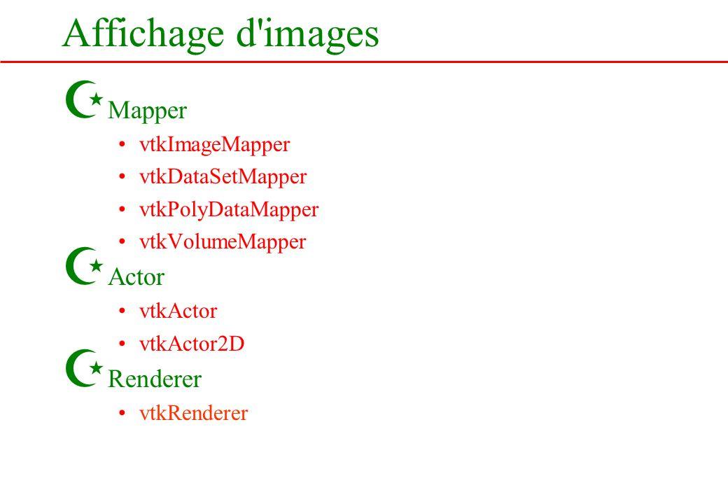 Affichage d'images Z Mapper vtkImageMapper vtkDataSetMapper vtkPolyDataMapper vtkVolumeMapper Z Actor vtkActor vtkActor2D Z Renderer vtkRenderer