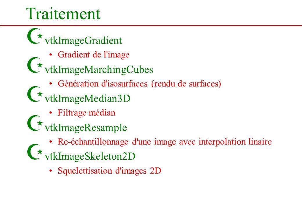 Traitement Z vtkImageGradient Gradient de l'image Z vtkImageMarchingCubes Génération d'isosurfaces (rendu de surfaces) Z vtkImageMedian3D Filtrage méd