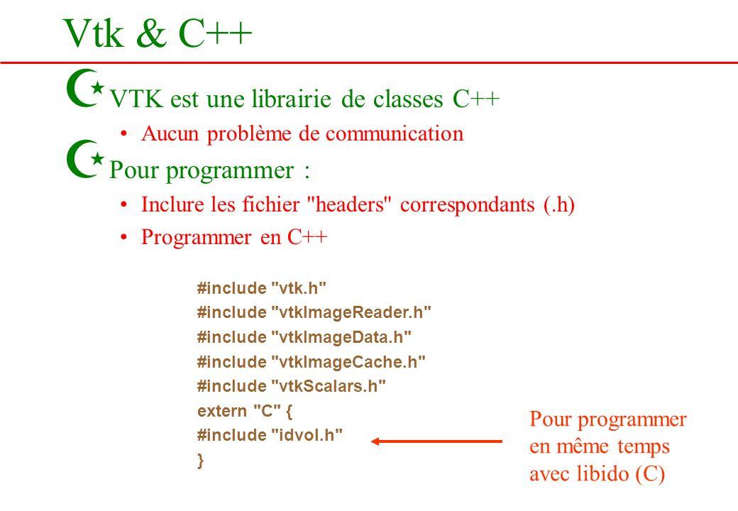 Vtk & C++ Z VTK est une librairie de classes C++ Aucun problème de communication Z Pour programmer : Inclure les fichier