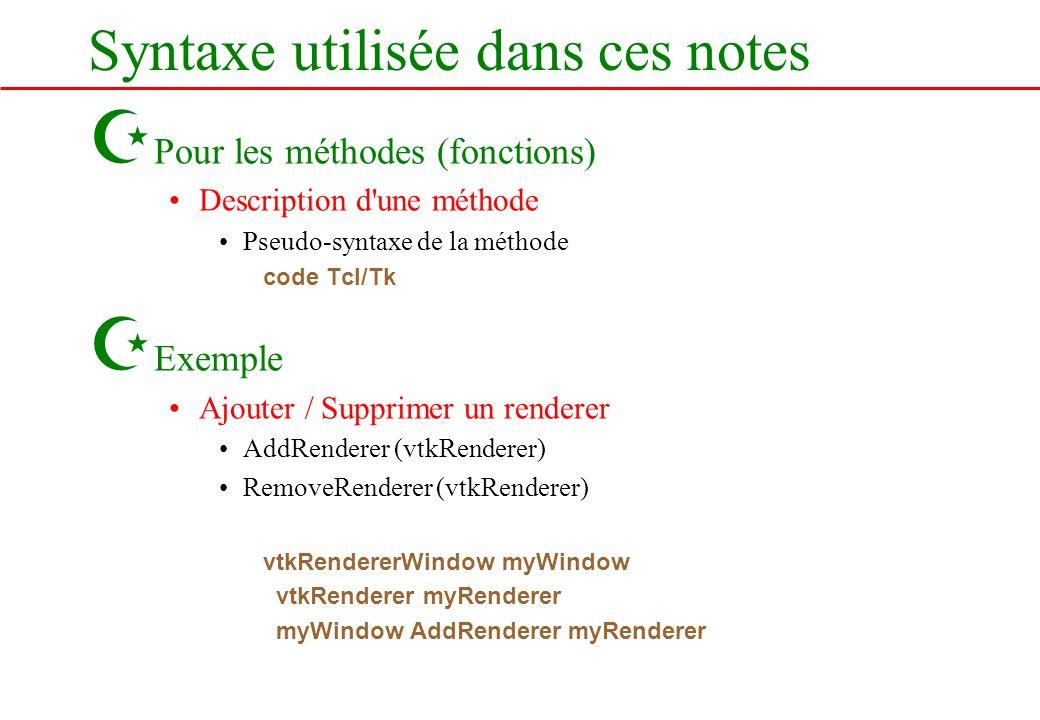 Syntaxe utilisée dans ces notes Z Pour les méthodes (fonctions) Description d'une méthode Pseudo-syntaxe de la méthode code Tcl/Tk Z Exemple Ajouter /