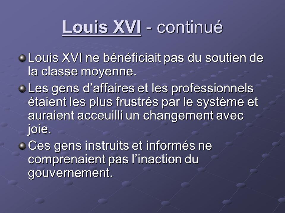 Louis XVI - continué Louis XVI ne bénéficiait pas du soutien de la classe moyenne. Les gens daffaires et les professionnels étaient les plus frustrés