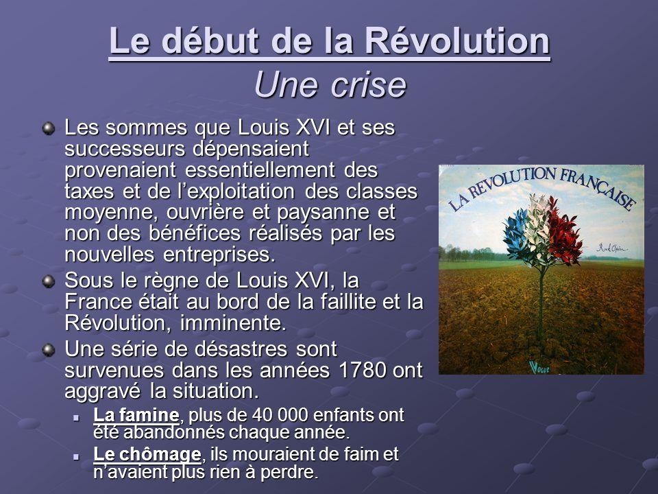 Le début de la Révolution Une crise Les sommes que Louis XVI et ses successeurs dépensaient provenaient essentiellement des taxes et de lexploitation