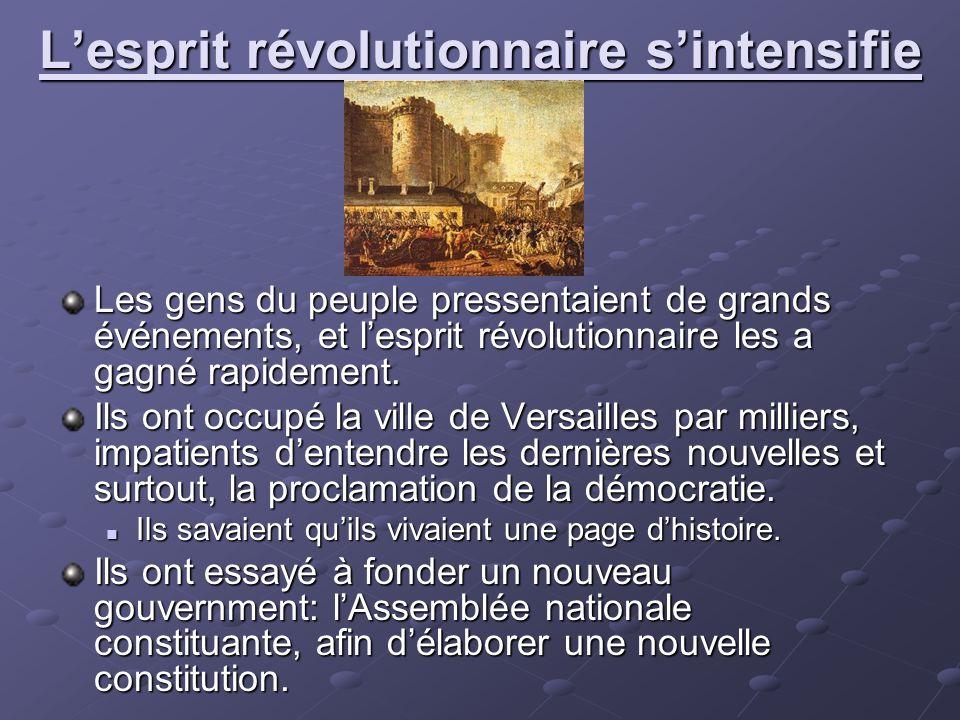 Lesprit révolutionnaire sintensifie Les gens du peuple pressentaient de grands événements, et lesprit révolutionnaire les a gagné rapidement. Ils ont