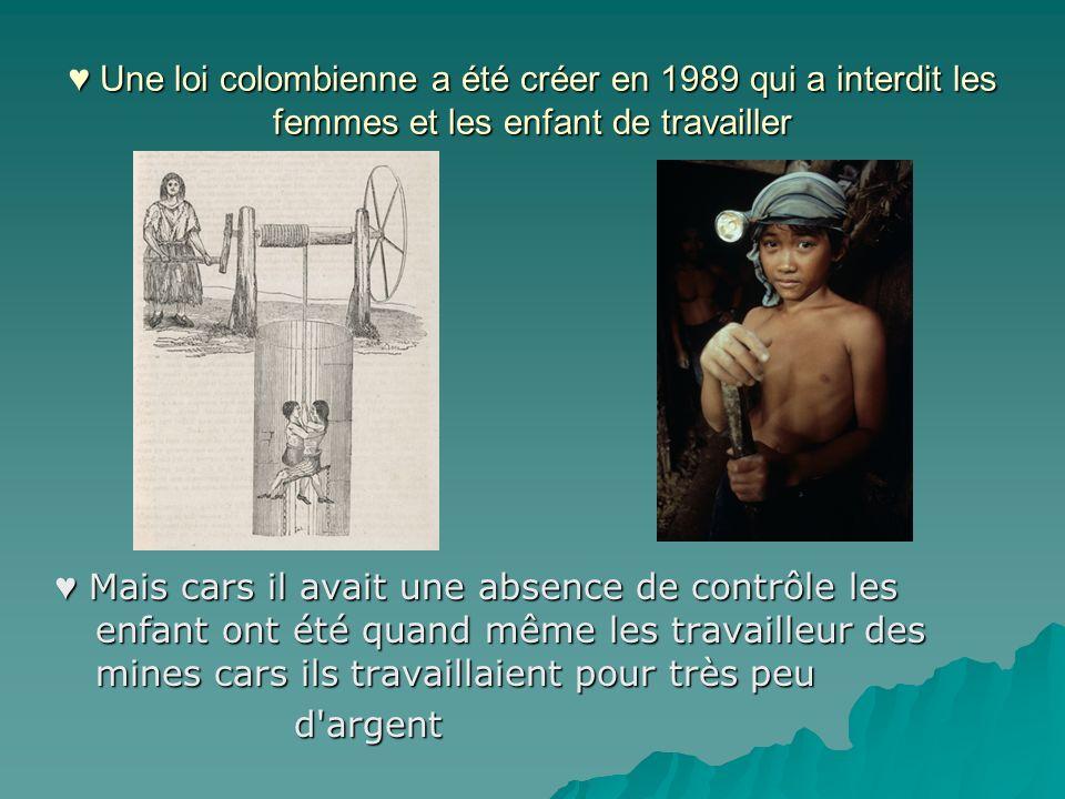 Une loi colombienne a été créer en 1989 qui a interdit les femmes et les enfant de travailler Une loi colombienne a été créer en 1989 qui a interdit l