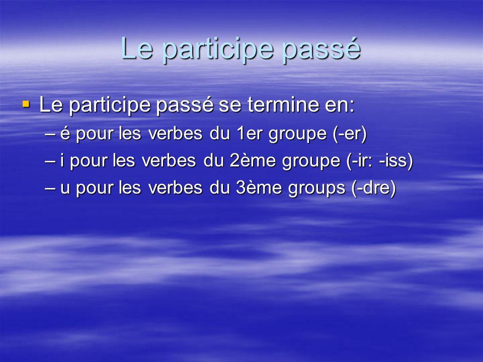 Le participe passé Le participe passé se termine en: Le participe passé se termine en: –é pour les verbes du 1er groupe (-er) –i pour les verbes du 2è
