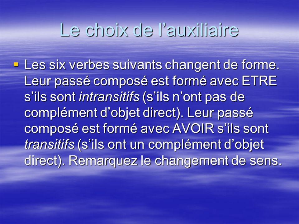 Les six verbes suivants changent de forme. Leur passé composé est formé avec ETRE sils sont intransitifs (sils nont pas de complément dobjet direct).