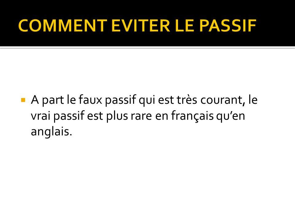 A part le faux passif qui est très courant, le vrai passif est plus rare en français quen anglais.