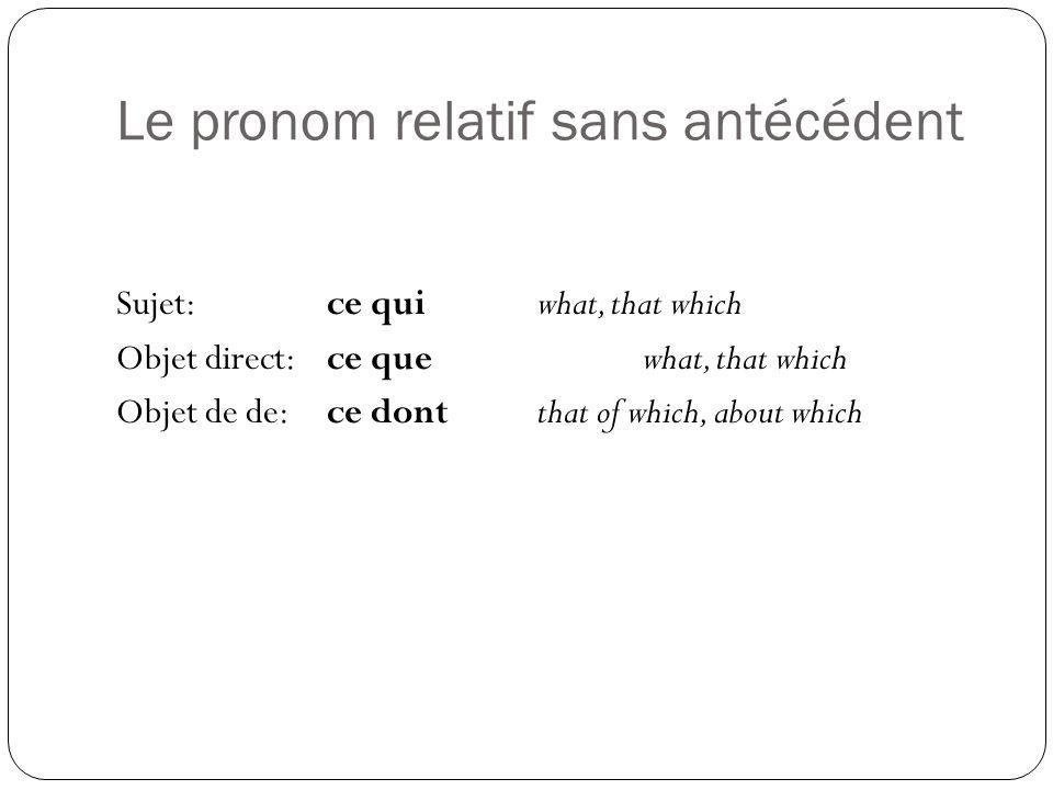 Le pronom relatif sans antécédent Sujet:ce quiwhat, that which Objet direct:ce quewhat, that which Objet de de:ce dontthat of which, about which