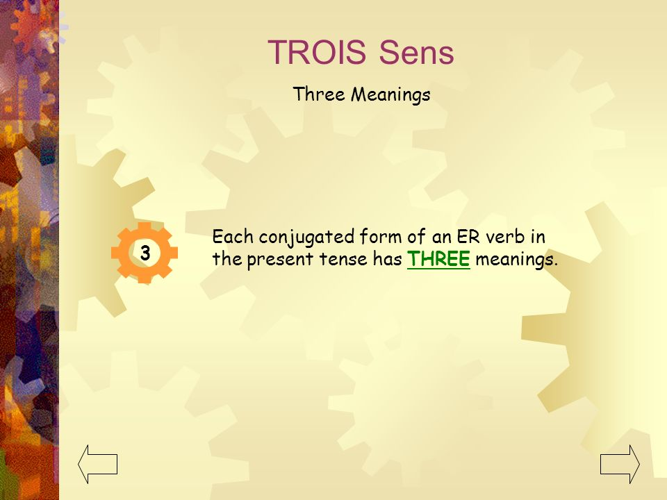 TROIS Sens Three Meanings 3 Each conjugated form of an ER verb in the present tense has THREE meanings.