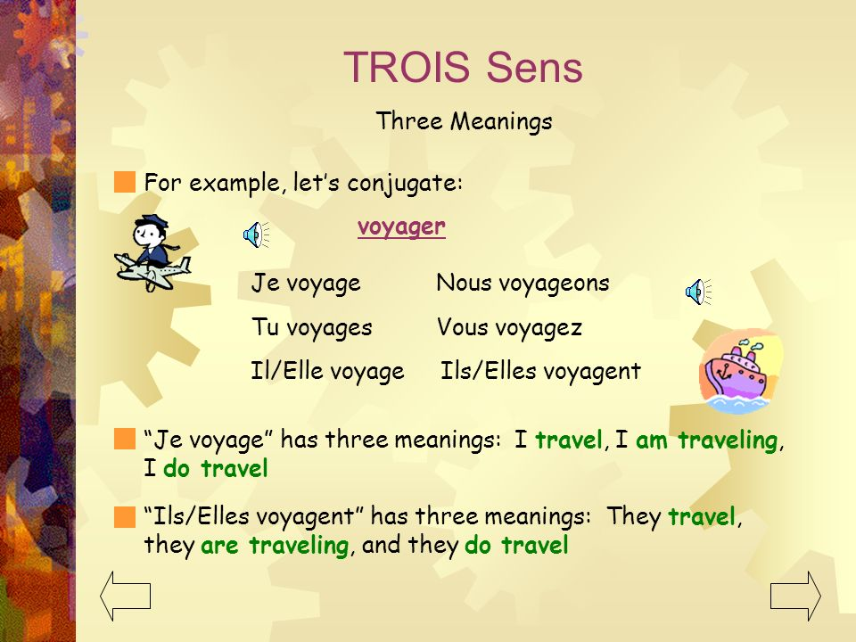 TROIS Sens Three Meanings For example, lets conjugate: voyager Je voyage Nous voyageons Tu voyages Vous voyagez Il/Elle voyage Ils/Elles voyagent Je voyage has three meanings: I travel, I am traveling, I do travel Ils/Elles voyagent has three meanings: They travel, they are traveling, and they do travel
