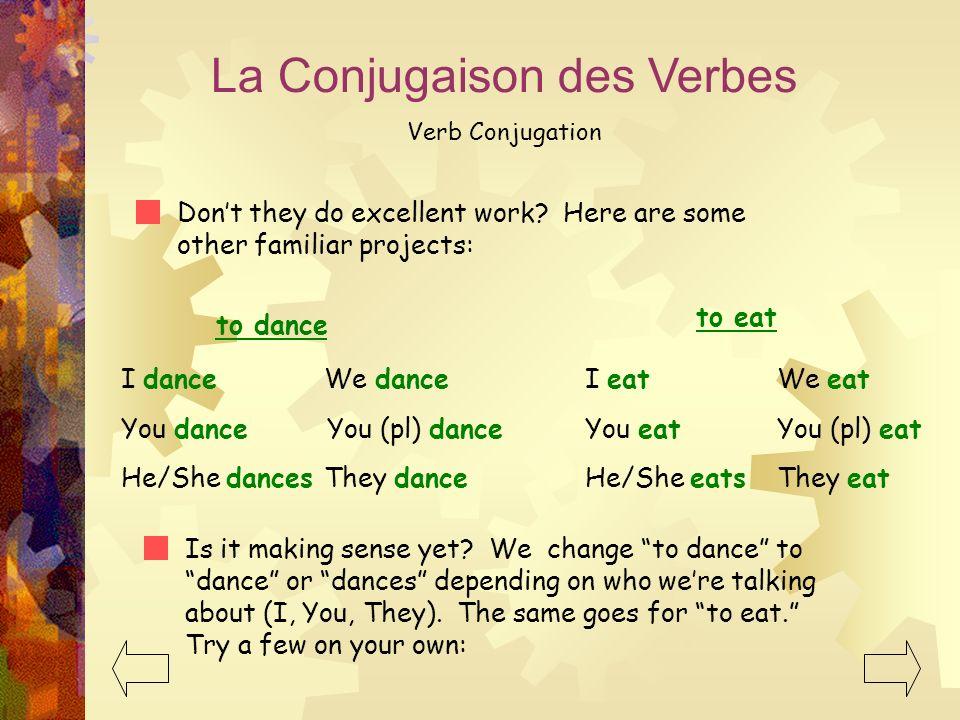 La Conjugaison des Verbes Verb Conjugation Dont they do excellent work.