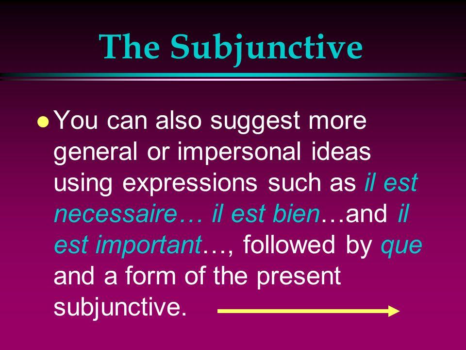 The Subjunctive l Lextreneur demande que les athlètes etirent les muscles. l The trainer demands that the athletes stretch their muscles.