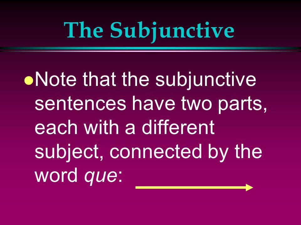 The Subjunctive l Il est necessaire que tu fasses les exercices. l Its necessary that you do exercise. l Il est important que les jeunes gens mangent