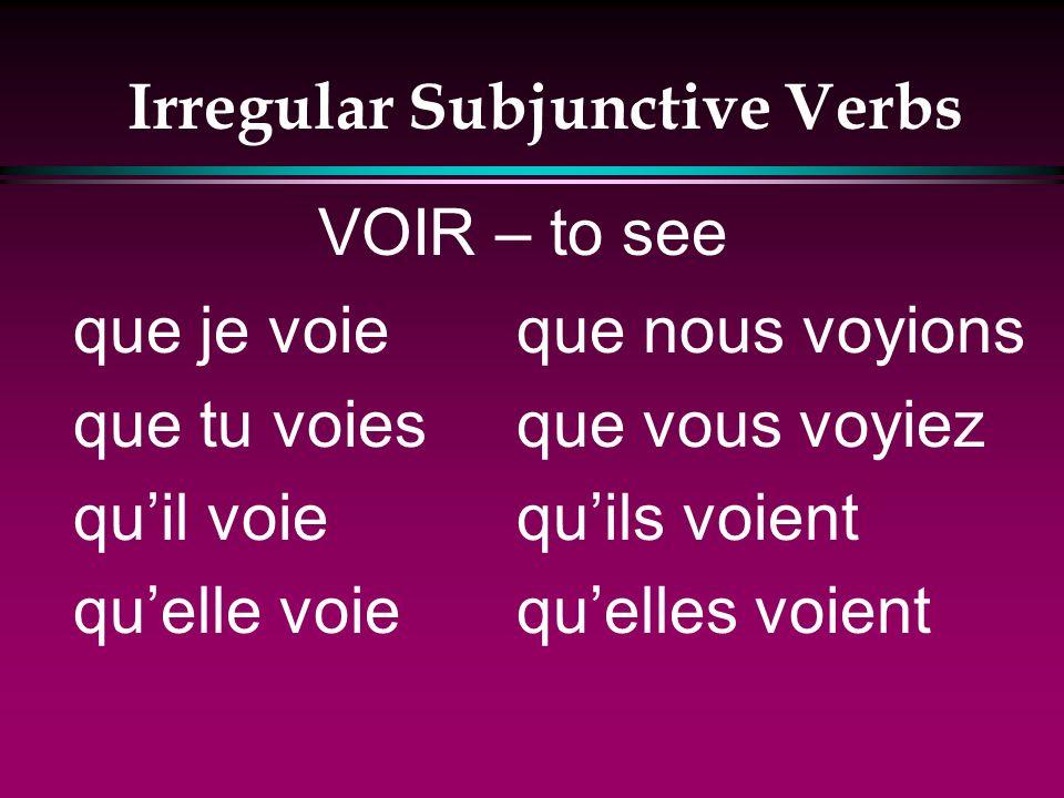 Irregular Subjunctive Verbs que je croie que tu croies quil croie quelle croie que nous croyions que vous croyiez quils croient quelles croient CROIRE