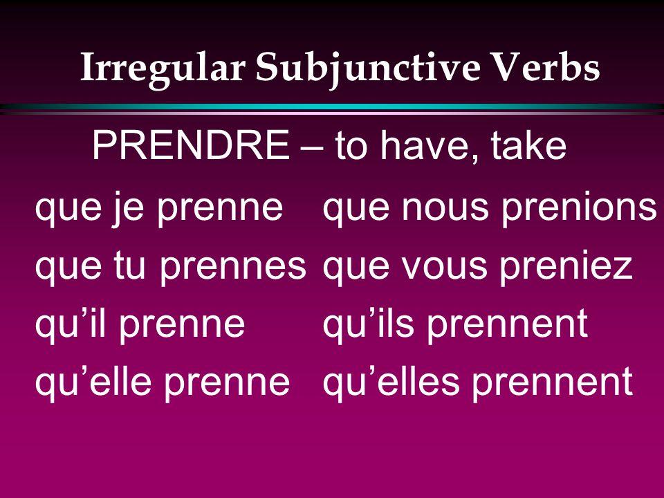 Irregular Subjunctive Verbs que je voie que tu voies quil voie quelle voie que nous voyions que vous voyiez quils voient quelles voient VOIR – to see
