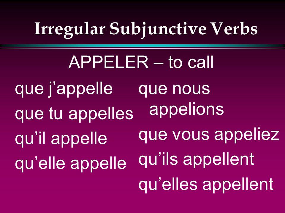 Irregular Subjunctive Verbs que jachète que tu achètes quil achète quelle achète que nous achetions que vous achetiez quils achètent quelles achètent