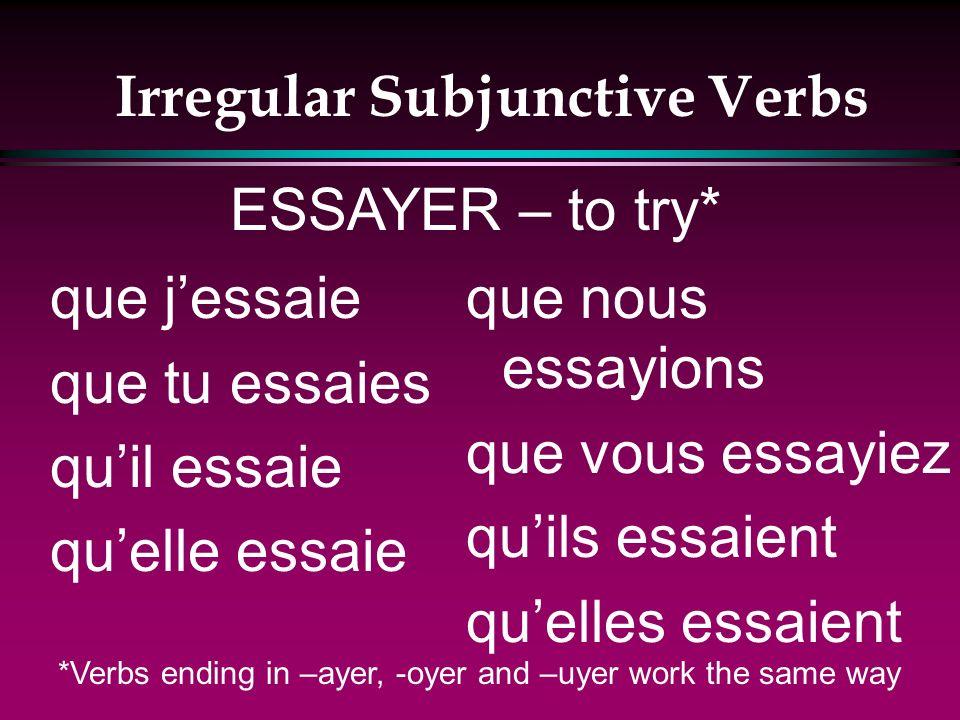 Irregular Subjunctive Verbs que jespère que tu espères quil espère quelle espère que nous espérions que vous espériez quils espèrent quelles espèrent