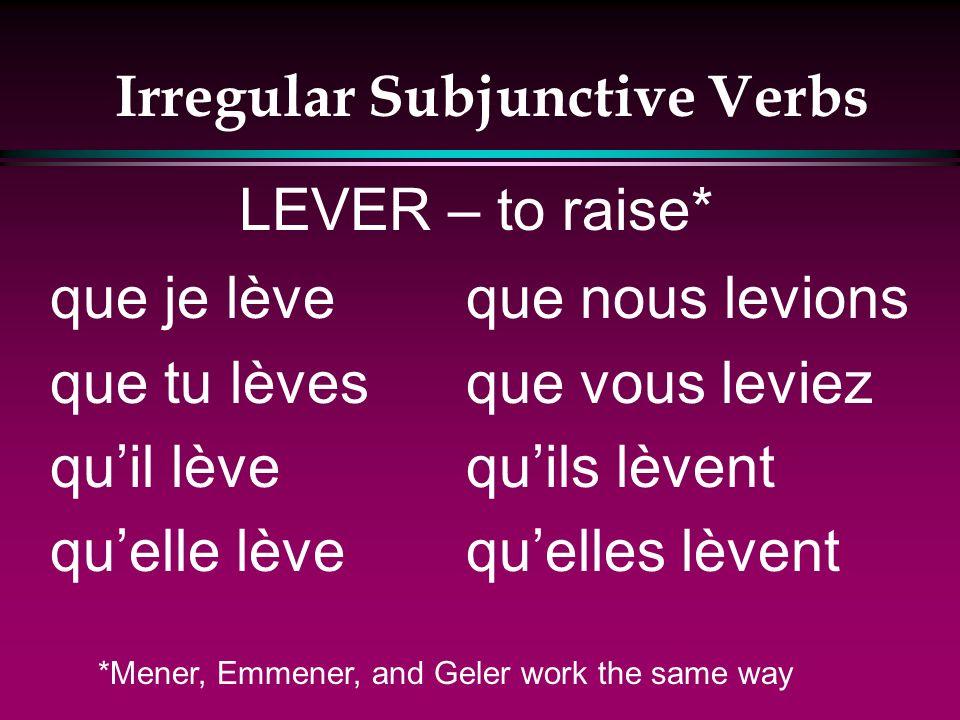 Irregular Subjunctive Verbs que je jette que tu jettes quil jette quelle jette que nous jetions que vous jetiez quils jettent quelles jettent JETER –