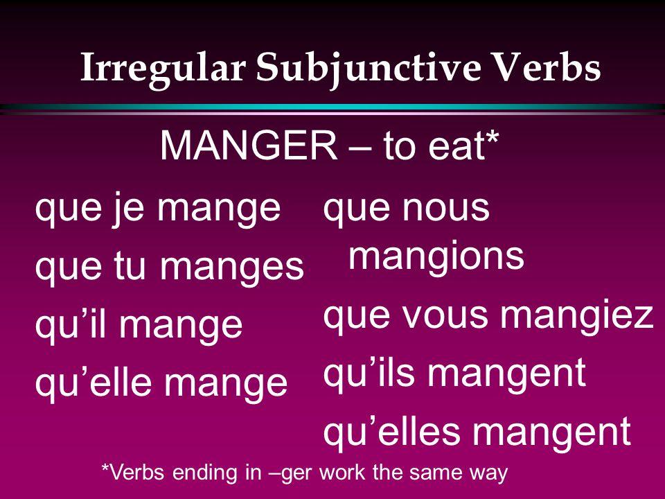 Irregular Subjunctive Verbs que je lève que tu lèves quil lève quelle lève que nous levions que vous leviez quils lèvent quelles lèvent LEVER – to rai