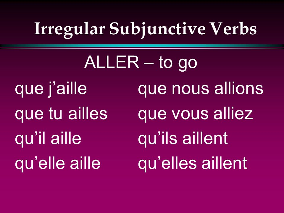 Irregular Subjunctive Verbs que je puisse que tu puisses quil puisse quelle puisse que nous puissions que vous puissiez quils puissent quelles puissent POUVOIR – to be able to