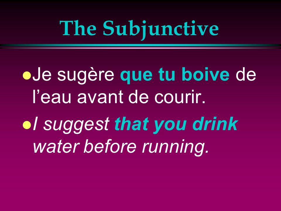 The Subjunctive l Je veux que tu respires lentement. l I want you to breathe slowly.