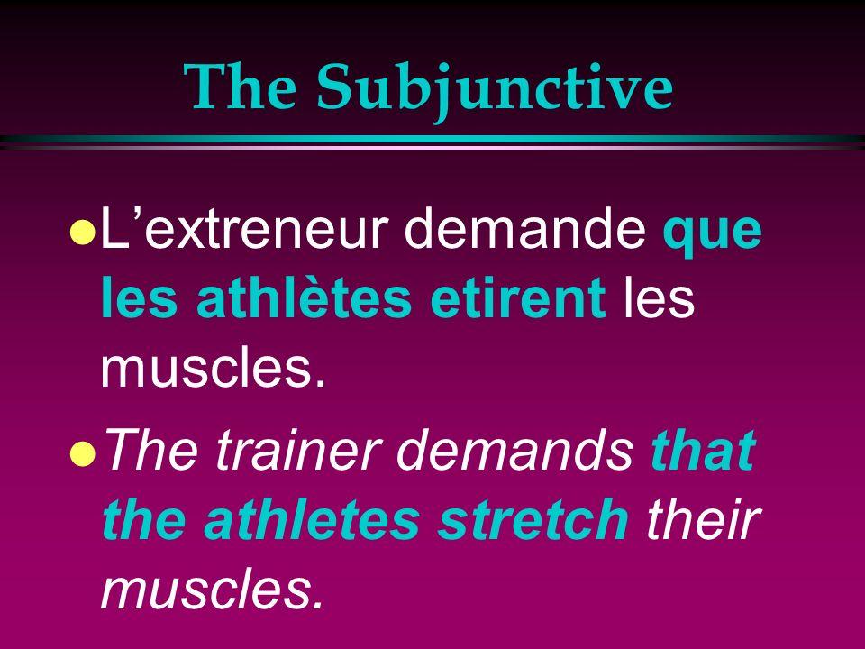 The Subjunctive l Je sugère que tu boive de leau avant de courir. l I suggest that you drink water before running.