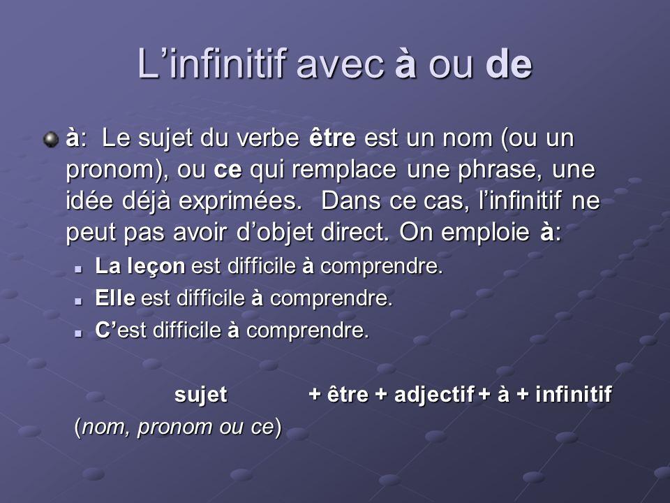 Linfinitif avec à ou de à: Le sujet du verbe être est un nom (ou un pronom), ou ce qui remplace une phrase, une idée déjà exprimées.