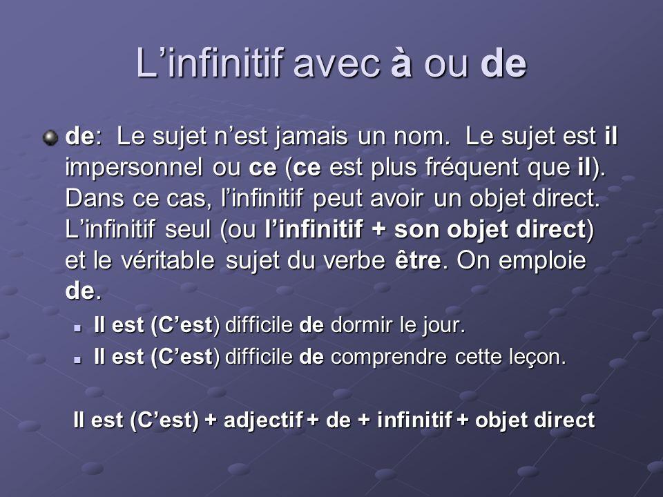 Linfinitif avec à ou de de: Le sujet nest jamais un nom.