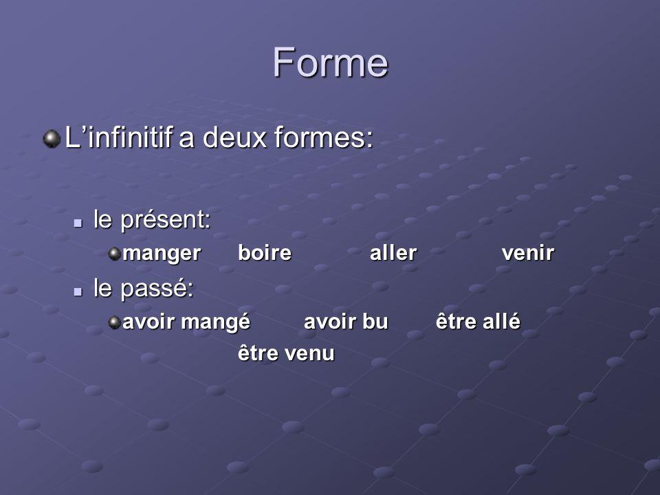 Forme Linfinitif a deux formes: le présent: le présent: mangerboireallervenir le passé: le passé: avoir mangéavoir buêtre allé être venu