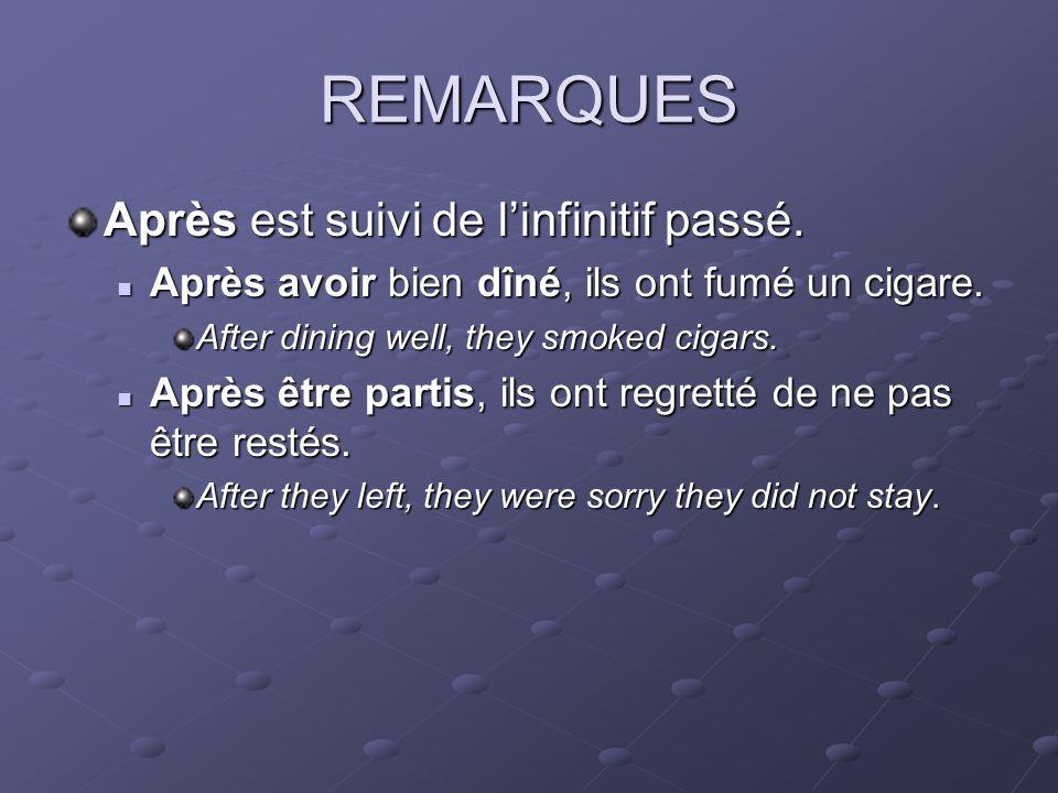 REMARQUES Après est suivi de linfinitif passé. Après avoir bien dîné, ils ont fumé un cigare.