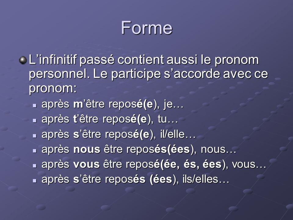 Forme Linfinitif passé contient aussi le pronom personnel.