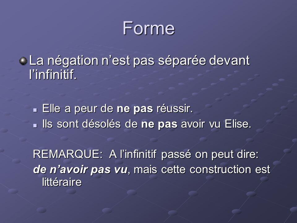 Forme La négation nest pas séparée devant linfinitif.