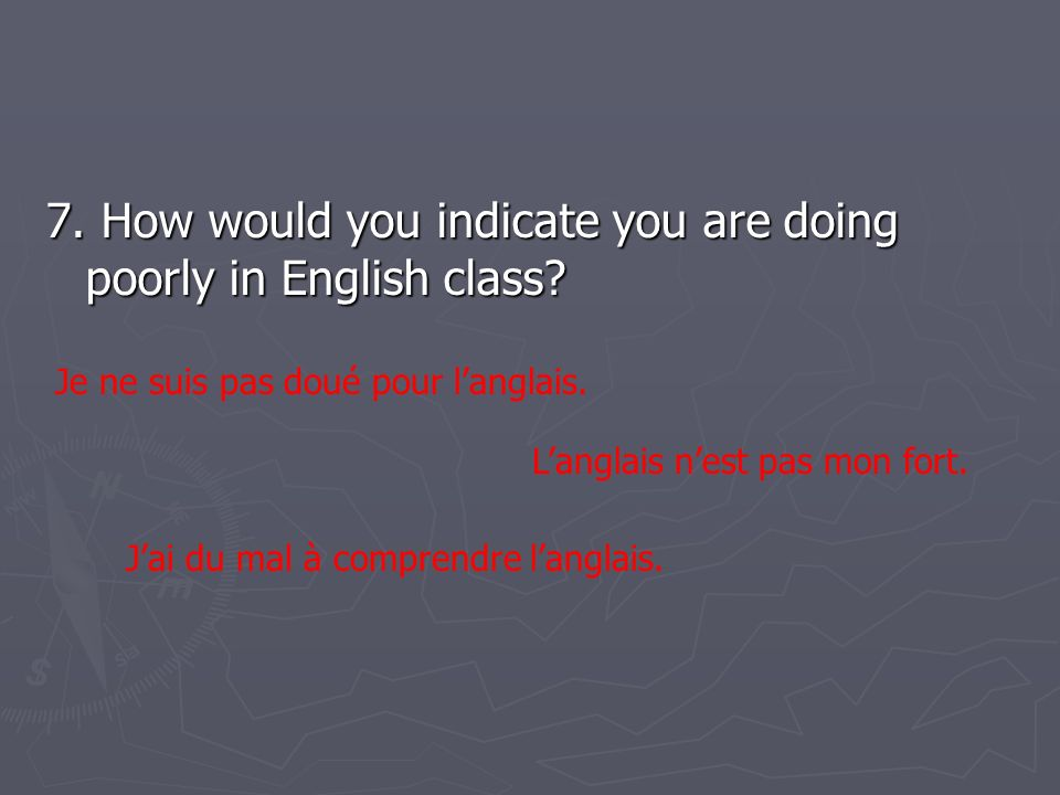 7.How would you indicate you are doing poorly in English class.