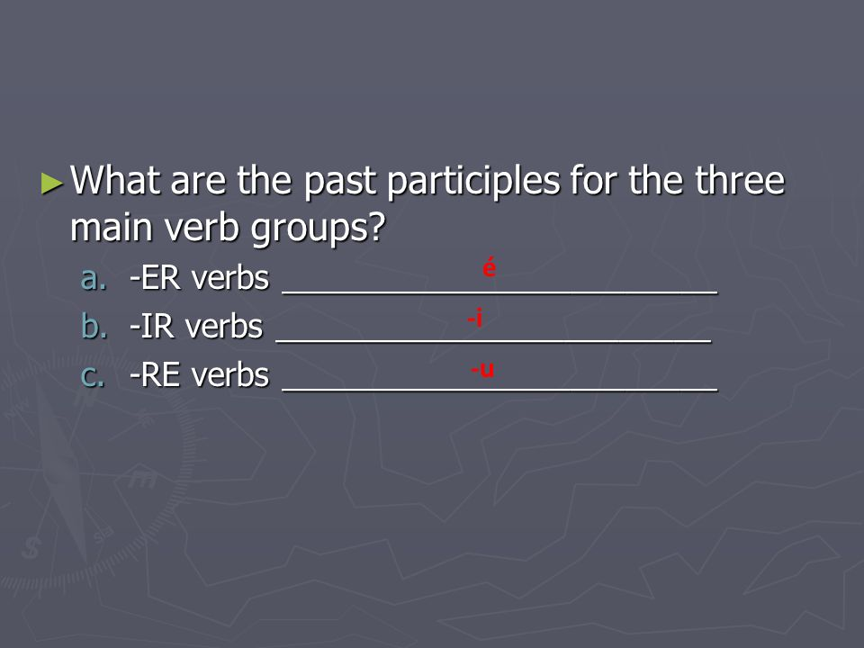 What are the past participles of these irregular verbs and what do they mean.