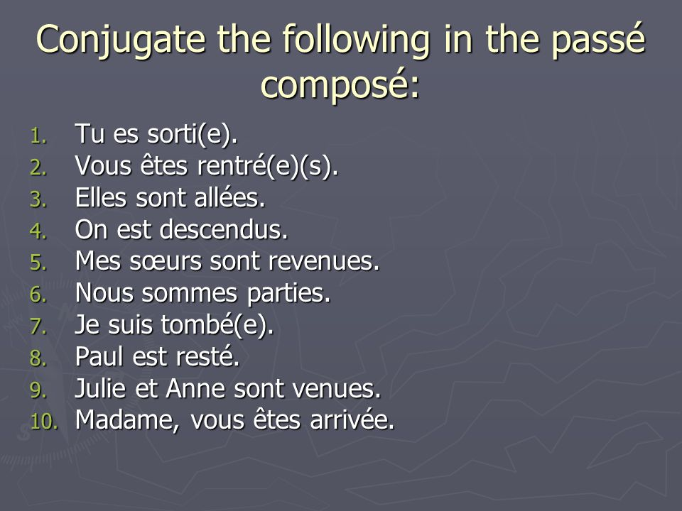 Conjugate the following in the passé composé: 1. Tu es sorti(e).
