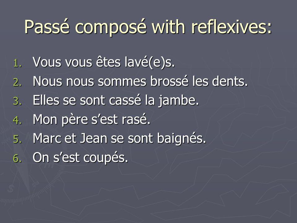 Passé composé with reflexives: 1. Vous vous êtes lavé(e)s.
