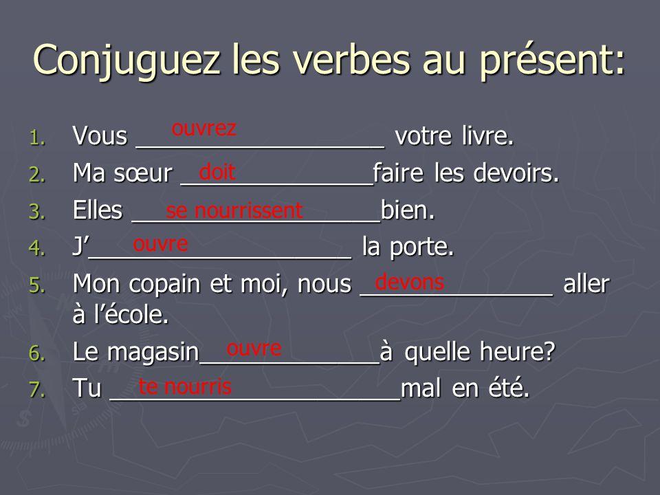 Conjuguez les verbes au présent: 1. Vous __________________ votre livre. 2. Ma sœur ______________faire les devoirs. 3. Elles __________________bien.