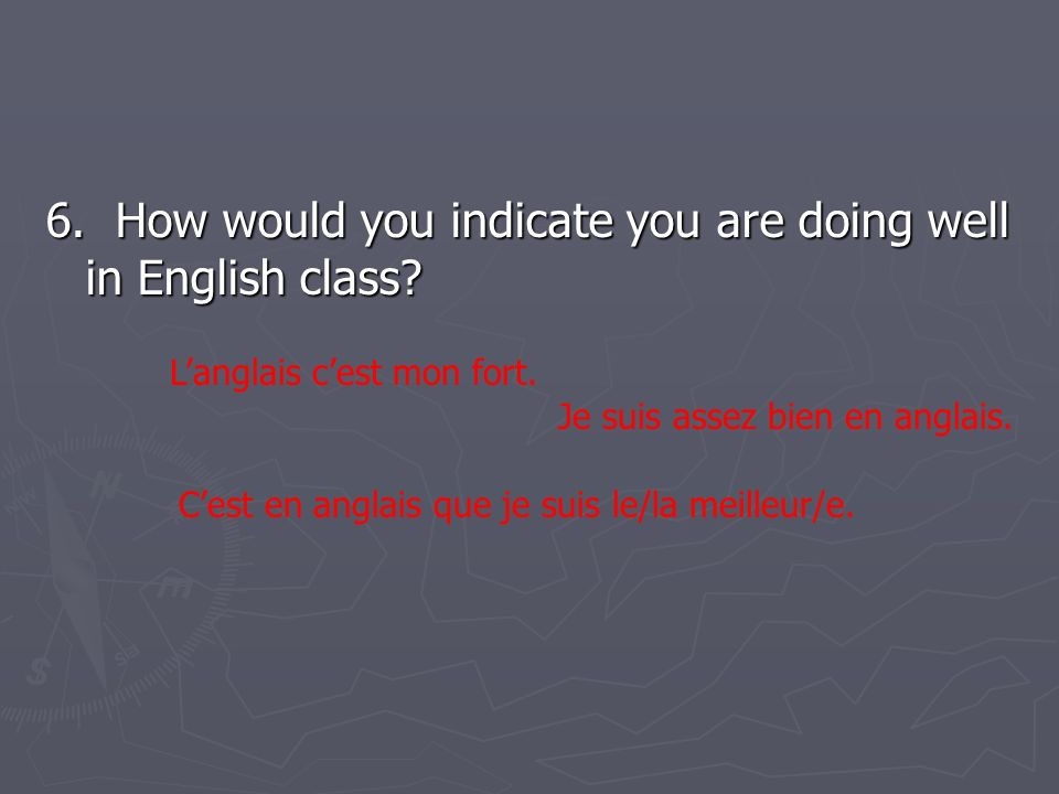 6. How would you indicate you are doing well in English class.