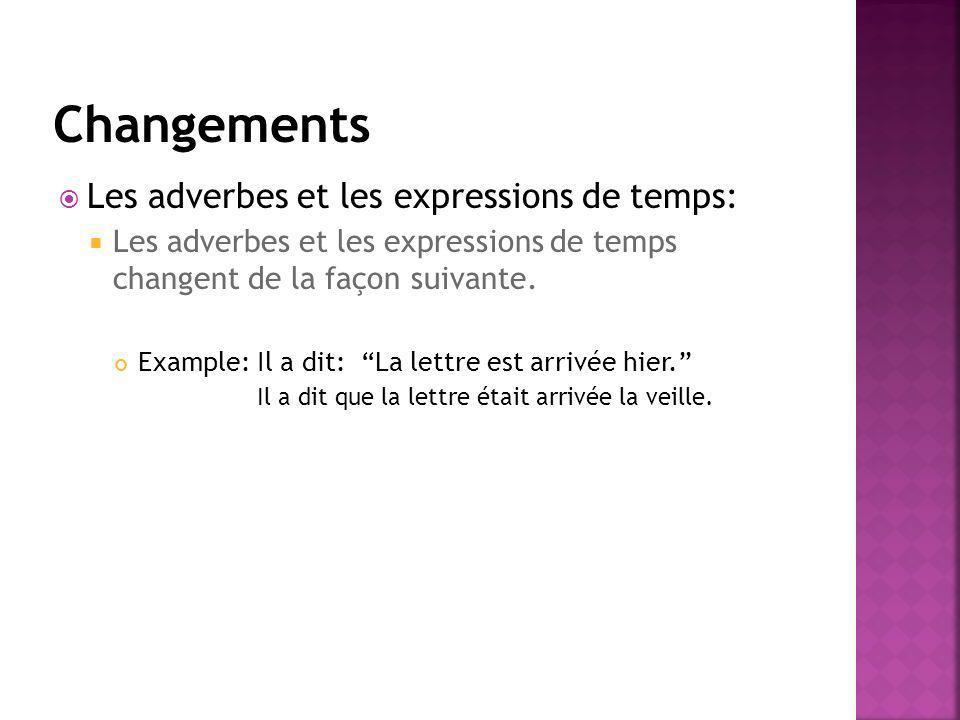 Les adverbes et les expressions de temps: Les adverbes et les expressions de temps changent de la façon suivante. Example: Il a dit: La lettre est arr