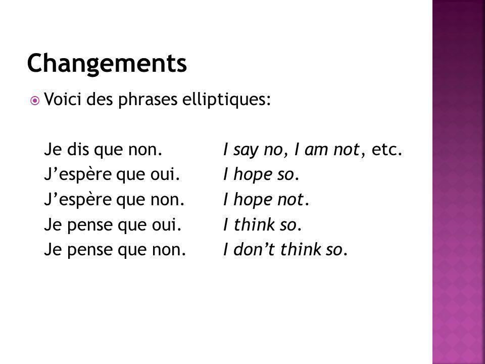 Voici des phrases elliptiques: Je dis que non.I say no, I am not, etc. Jespère que oui.I hope so. Jespère que non.I hope not. Je pense que oui.I think