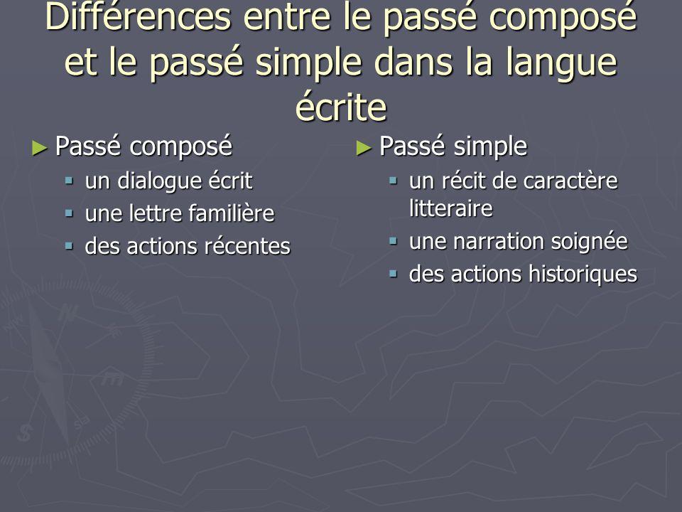 Différences entre le passé composé et le passé simple dans la langue écrite Passé composé Passé composé un dialogue écrit un dialogue écrit une lettre