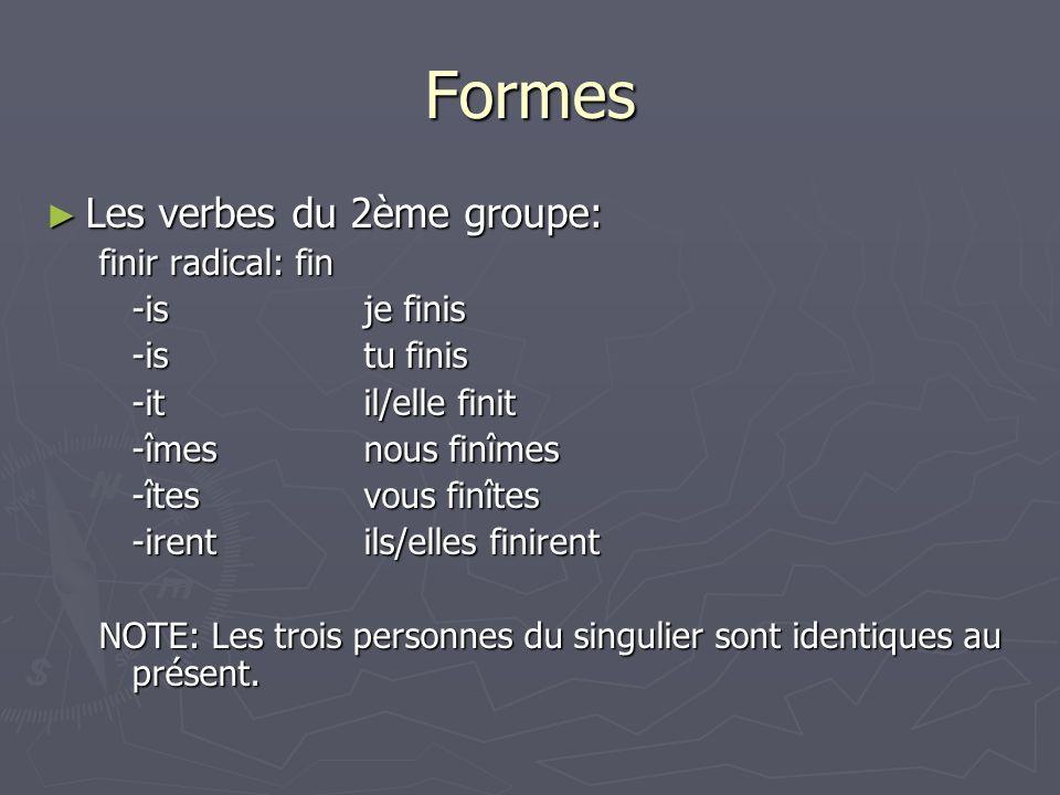 Formes Les verbes du 2ème groupe: Les verbes du 2ème groupe: finir radical: fin -isje finis -istu finis -itil/elle finit -îmesnous finîmes -îtesvous f
